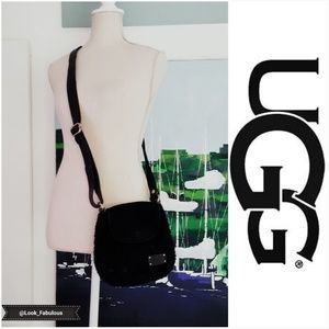 UGG BLACK SUEDE WITH FUR ACCENTS CROSSBODY PURSE